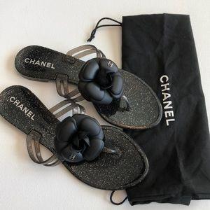 Chanel Black Camelia Jelly Sandal